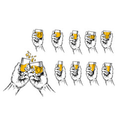 two hands raised stemware vector image vector image
