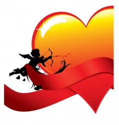 valentine background with cupid vector image