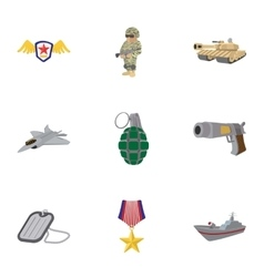 Weapons icons set cartoon style vector image vector image