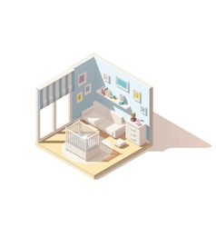 Isometric low poly baby room icon vector