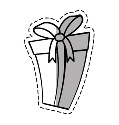 Gift box ribbon parcel surprise linea shadow vector