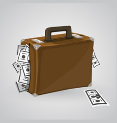 suitcase with money vector image