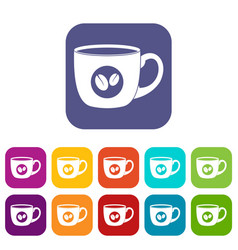 Cup of coffee icons set flat vector
