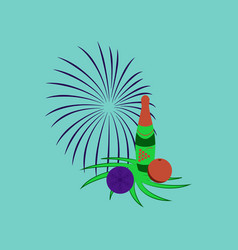 Flat on background of christmas ball champagne vector