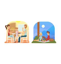 family holiday cartoon concepts mom dad son vector image