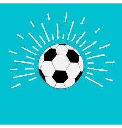 Football soccer ball with ray of light sunlight vector image