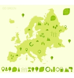 Europe high detailed map ecology green flat icons vector