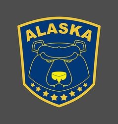Alaska bear stripe or emblem depicting muzzle of a vector
