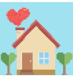 House of love in pixel style vector