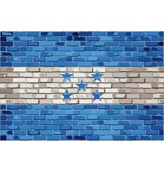 Grunge flag of honduras on a brick wall vector