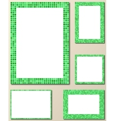 Green pixel mosaic page border set vector