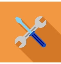 Wrench and screwdriver flat long shadow square vector