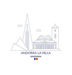 Andorra la vella city skyline vector