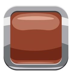 Broun square button icon cartoon style vector
