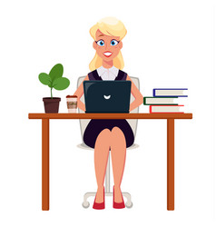 business woman entrepreneur working on laptop at vector image vector image
