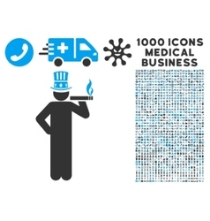 Capitalist icon with 1000 medical business symbols vector