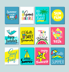 Colorful cute hand drawn summer cards background vector