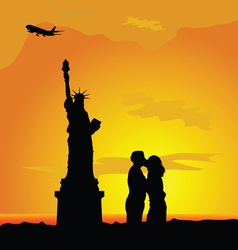 couple with famous statue color vector image vector image