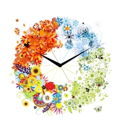 Design of clock Four seasons concept vector image