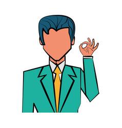 elegant man cartoon vector image vector image