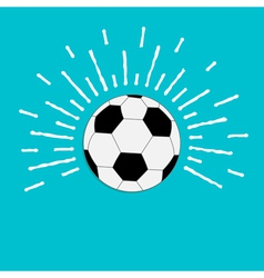Football soccer ball with ray of light sunlight vector image vector image