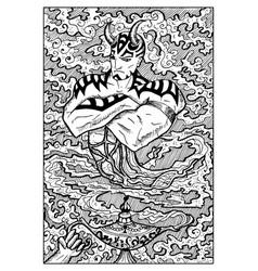 ginn and magic lamp engraved fantasy vector image