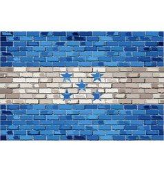 Grunge flag of Honduras on a brick wall vector image vector image