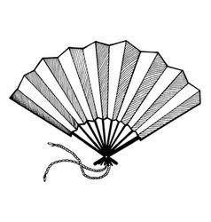 hand fan engraving style vector image vector image