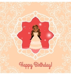 Happy Birthday red card with princess vector image vector image