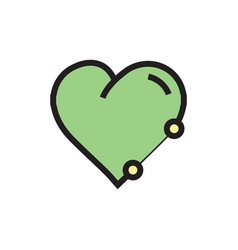 Icon heart pen tool style green vector