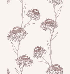 Linear flower seamless pattern on light background vector