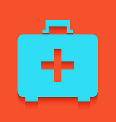 Medical first aid box sign whitish icon vector