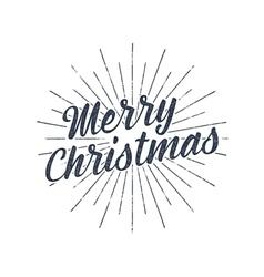 Merry Christmas typography label Retro photo vector image vector image