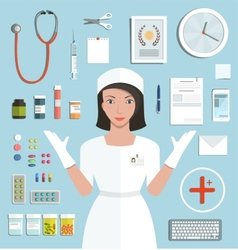 Nurse Showing Medical Tools and Medicament vector image