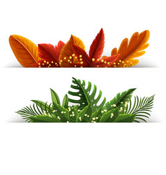 Orange and green leaves on white background vector