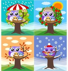 Owl mother love vector