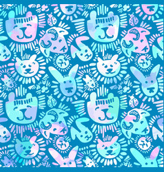 Pets stylish seamless textile ink brush strokes vector