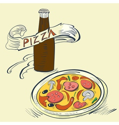 pizza with bottle of soda vector image vector image