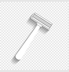 Safety razor sign white icon with soft vector