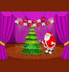 Santa claus merry christmas happy newyear on stage vector