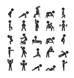 Set of dumbbell exercises character vector image
