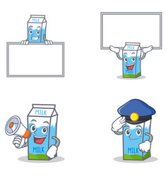 Set of milk box character with board megaphone vector
