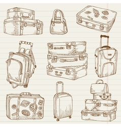 Set of Vintage Suitcases vector image vector image