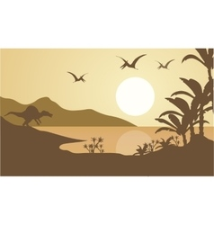 Silhouette of pterodactyl and spinosaurus vector
