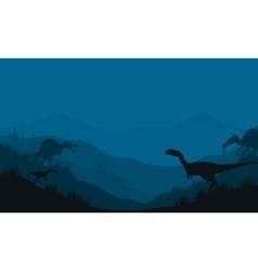 Silhouette of spinosaurus and megapnosaurus vector