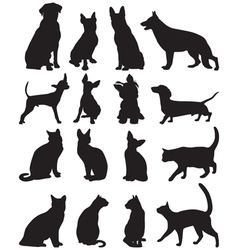 Silhouettes cats and dogs vector image vector image