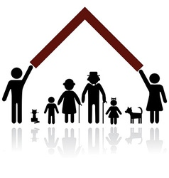 silhouettes of family vector image