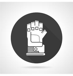 Sport glove black round icon vector