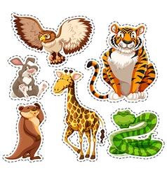 Sticker set of wild animals vector