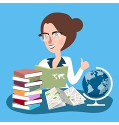 Teacher woman with glasses read books with globe vector